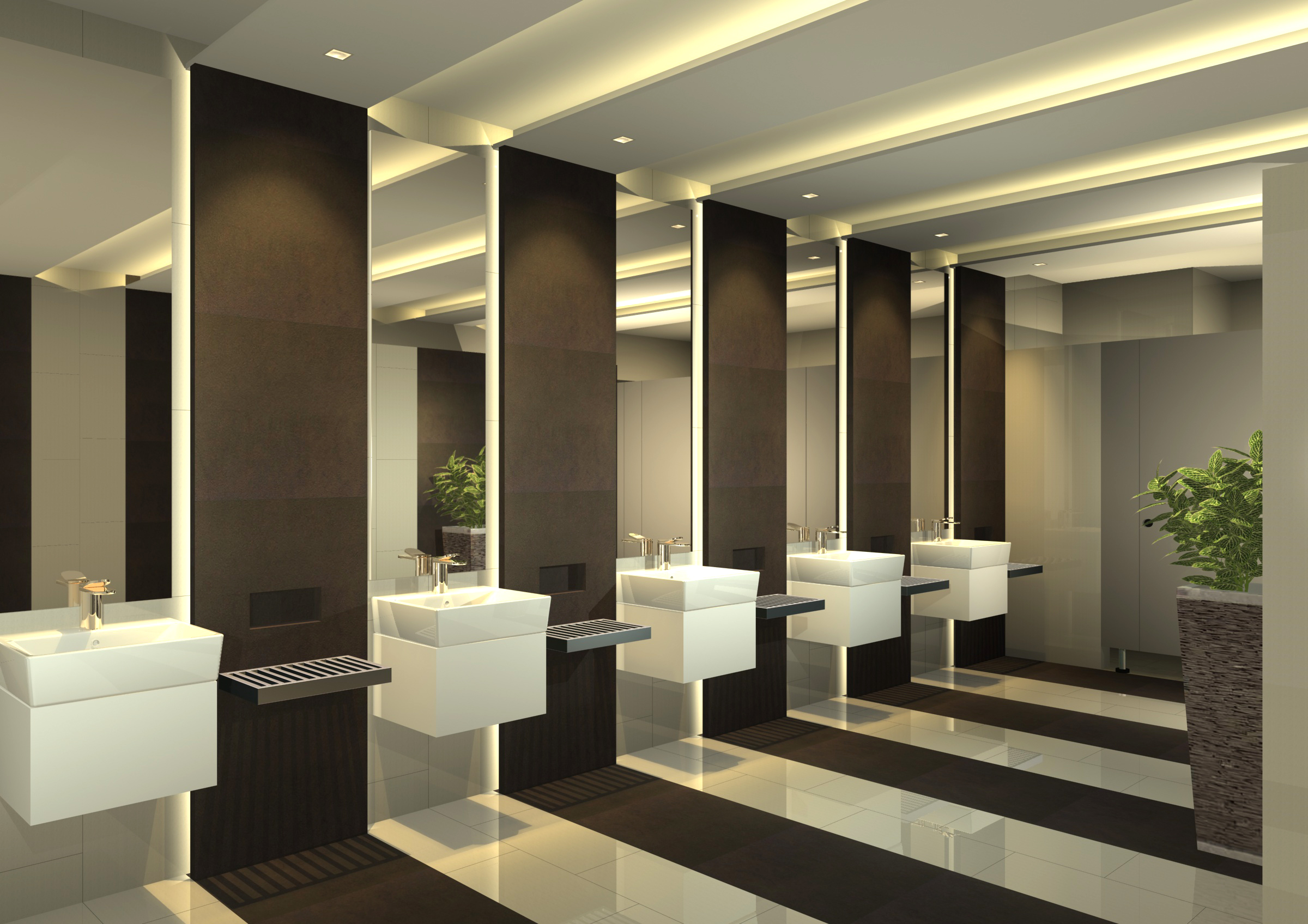 Interior Office Restroom Ecora Architects